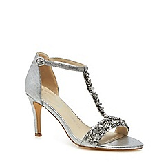 Debut - Silver floral embellishment 'Danika' high stiletto heel wide fit t-bar sandals