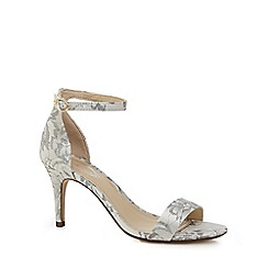 Debut - Pale grey lace 'Daisy' high stiletto heel ankle strap sandals
