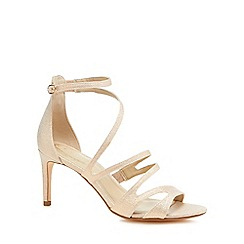 Debut - Light pink glitter 'Dreamy' mid stiletto heel ankle strap sandals