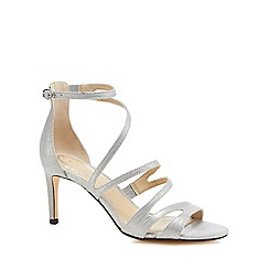 Debut - Silver suedette 'Dreamy' mid stiletto heel ankle strap sandals
