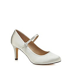 Debut - Ivory satin 'Dame' mid stiletto heel wide fit Mary Janes
