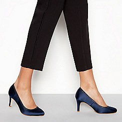 Debut - Navy satin 'Demelza' mid stiletto heel wide fit court shoes