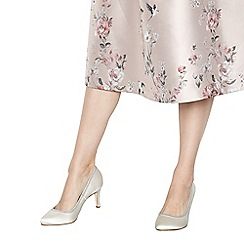 Debut - Cream satin 'Demelza' mid stiletto heel wide fit court shoes
