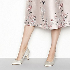 Debut - Ivory satin 'Demelza' mid stiletto heel wide fit court shoes