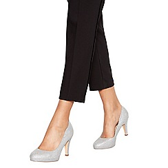 Debut - Silver 'Darten' high heel wide fit court shoes