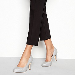 Debut - Silver 'Darten' high heel wide fit court shoes