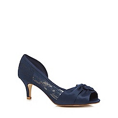 Debut - Navy lace 'Dani' mid heel wide fit peep toe shoes