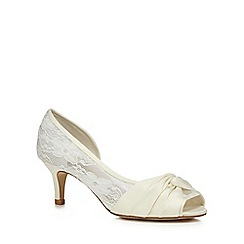 Debut - Ivory lace 'Dani' mid heel wide fit peep toe shoes