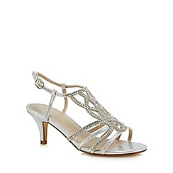 Debut - Silver diamante 'Dandy' mid stiletto heel ankle strap sandals