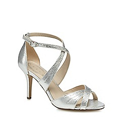 Debut - Silver 'Donte' high stiletto heel ankle strap sandals