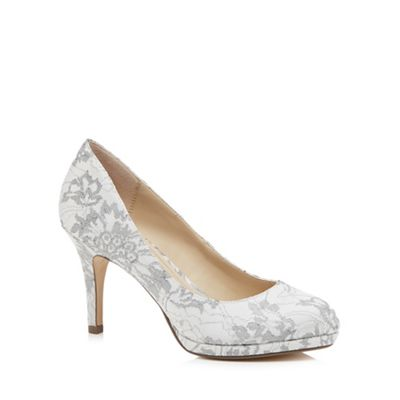 Debut   Grey Lace 'dourtney' High Stiletto Heel Court Shoes by Debut