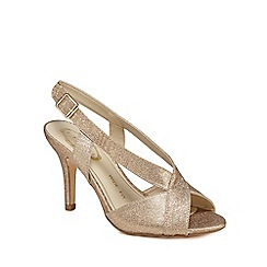 Debut - Rose gold glitter 'Diamond' high stiletto heel wide fit peep toe shoes