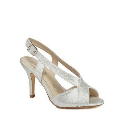 ae44f4d246b Debut - Silver glitter  Diamond  high stiletto heel wide fit peep toe shoes