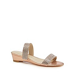 Debut - Pink diamante 'Delight' mid heel wide fit sandals