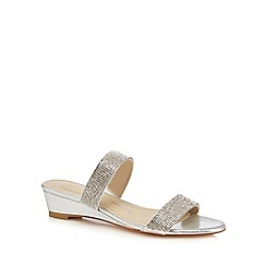 Debut - Silver diamante 'Delight' mid heel wide fit sandals