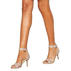 Debut - Rose 'Diana' mid stiletto heel wide fit ankle strap sandals