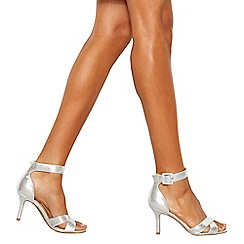Debut - Silver 'Diana' mid stiletto heel wide fit ankle strap sandals