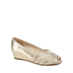 Debut - Gold glitter 'Debian' mid wedge heel peep toe shoes