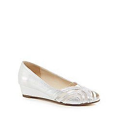 Debut - Silver glitter 'Debian' mid wedge heel peep toe shoes