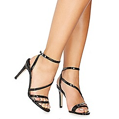 Faith - Black patent 'Delly' high stiletto heel ankle strap sandals