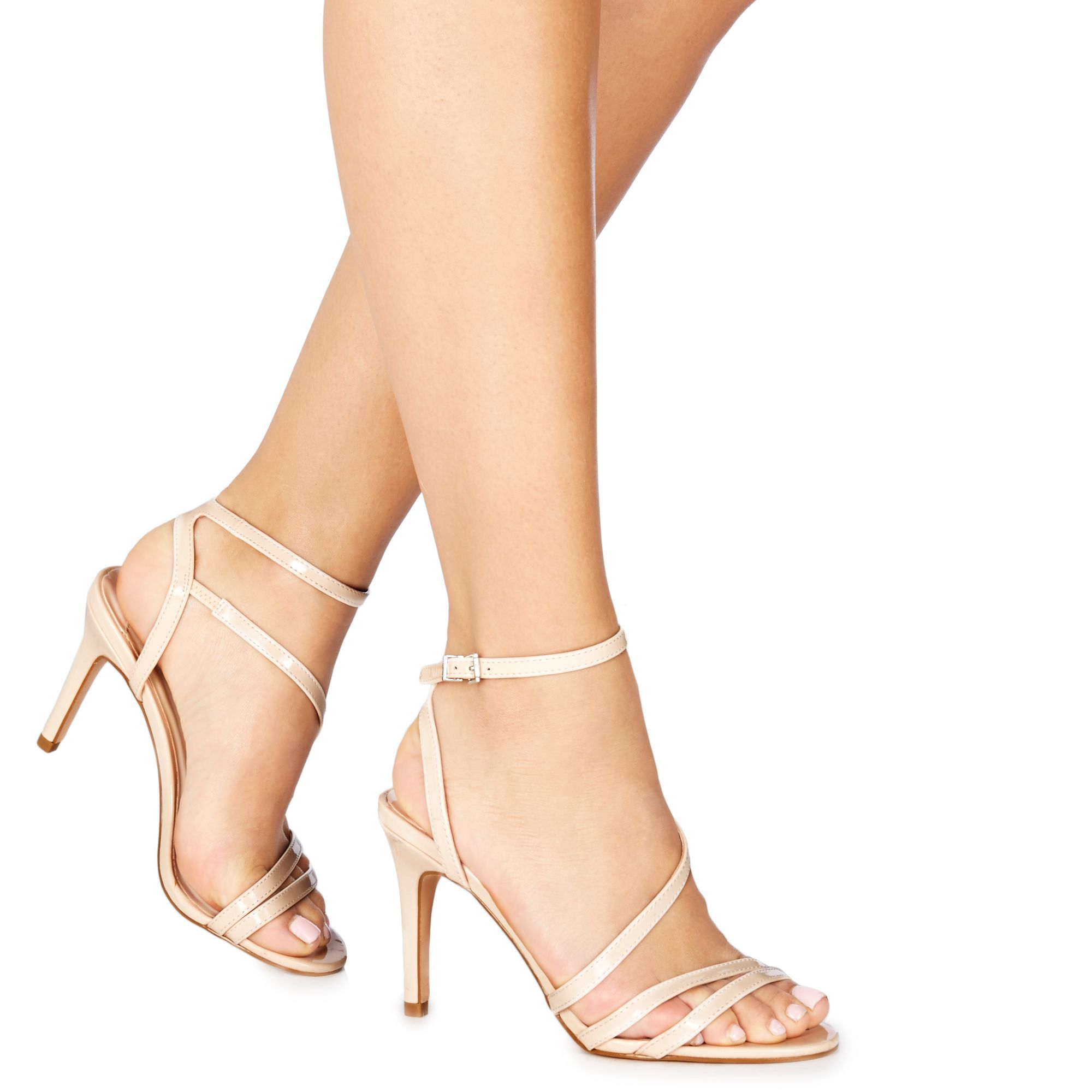aa8cb256a52 Details about Faith Womens Pale Pink Patent  Delly  High Stiletto Heel  Ankle Strap Sandals