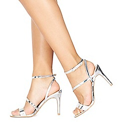 Faith - Silver 'Delly' high heel wide fit ankle strap sandals