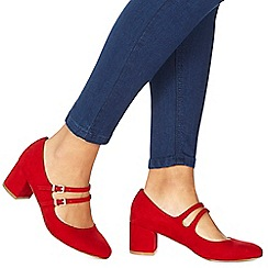 Faith - Red suedette 'Cindy' mid block heel wide fit Mary Janes
