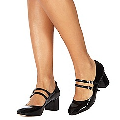 Faith - Black patent 'Cindy' mid block heel wide fit Mary Janes