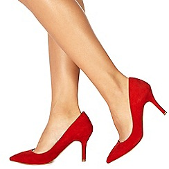 Faith - Red suedette 'Chariot' high stiletto heel pointed shoes
