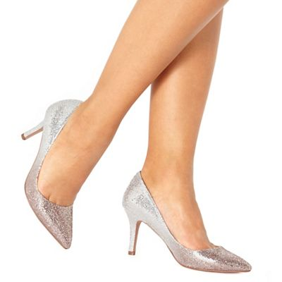 Faith - Silver glitter 'Chariot' high stiletto heel court shoes