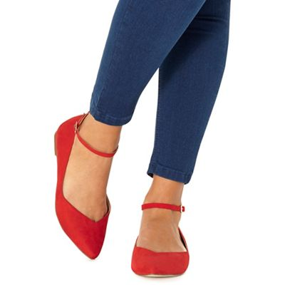 Faith - Red 'Ally' pointed wide fit shoes
