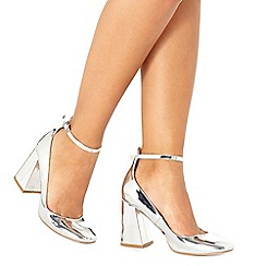 Faith - Silver patent 'Christine' high block heel court shoes