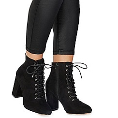Faith - Black suedette 'Barb' high block heel ankle boots