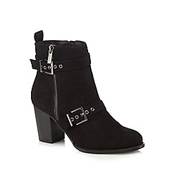 Faith - Black suedette 'Willow' high block heel wide fit ankle boots