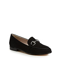 Faith - Black suedette 'Agnes' wide fit loafers