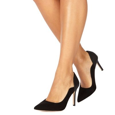 Faith - Black 'Cassandra' high heel wide fit pointed shoes