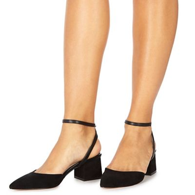 Faith - Black suedette 'Carly' mid block heel pointed shoes