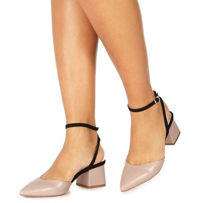 Faith   Light Pink 'carly' Mid Block Heel Pointed Shoes by Faith