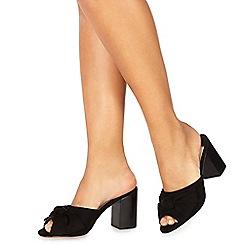 Faith - Black suedette 'Daiquiri' high block heel shoes