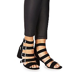 Faith - Black suedette 'Dishy' mid block heel ankle strap sandals