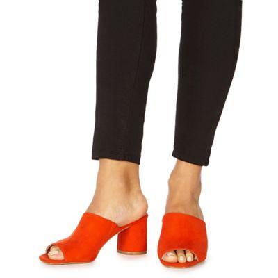 Faith - Dark orange suedette 'Dot' mid block heel mules