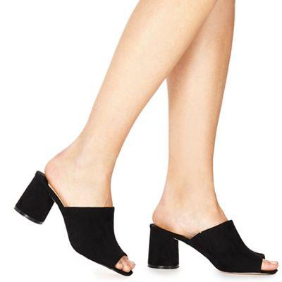 Faith - Black suedette 'Dot' mid block heel mules