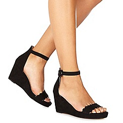 Faith - Black suedette 'Dust' mid wedge heel ankle strap sandals