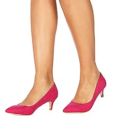 Faith - Pink suedette Cammy Zal mid stiletto heel pointed shoes