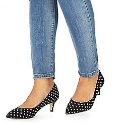 Faith - Navy 'Cammy' mid kitten heel pointed shoes
