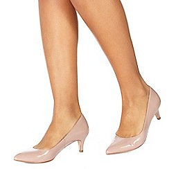 Faith - Natural patent 'Cammy' mid stiletto heel pointed shoes