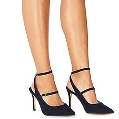 Faith - Navy suedette 'Cecilia' high stiletto heel wide fit slingbacks