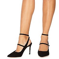 Faith - Black suedette 'Cecilia' high stiletto heel wide fit slingbacks