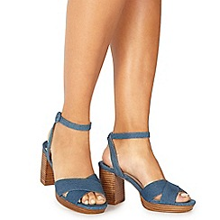 Faith - Blue denim 'Darcy' high block heel wide fit ankle strap sandals