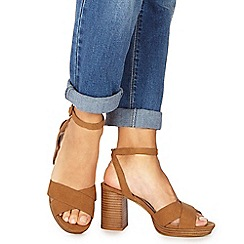 Faith - Tan suedette 'Darcy' high block heel wide fit ankle strap sandals